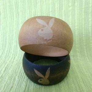 Playboy Bunny wooden bracelets.
